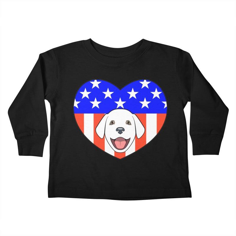 ALL AMERICAN DOG LOVER Kids Toddler Longsleeve T-Shirt by CAT IN ORBIT Artist Shop
