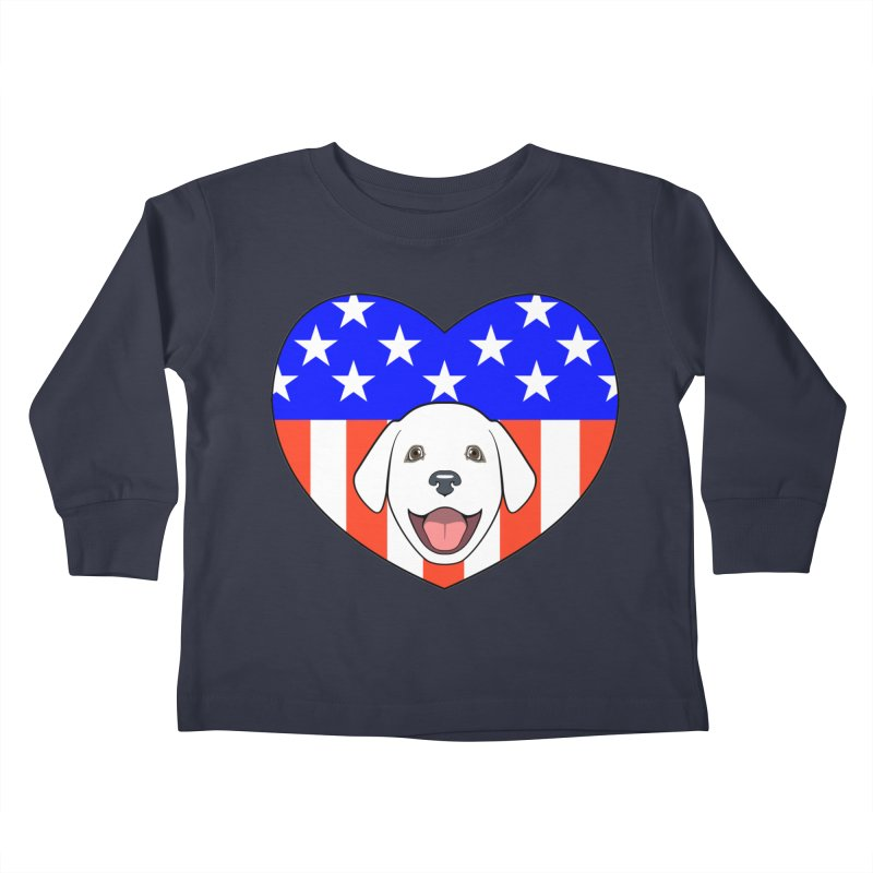 ALL AMERICAN DOG LOVER Kids Toddler Longsleeve T-Shirt by CAT IN ORBIT Artist Shop