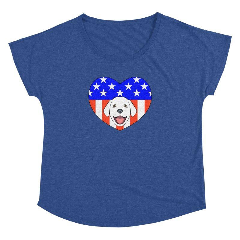 ALL AMERICAN DOG LOVER Women's Dolman Scoop Neck by CAT IN ORBIT Artist Shop
