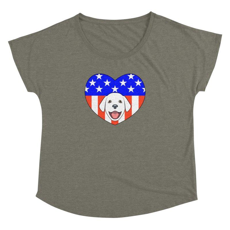 ALL AMERICAN DOG LOVER Women's Dolman by CAT IN ORBIT Artist Shop