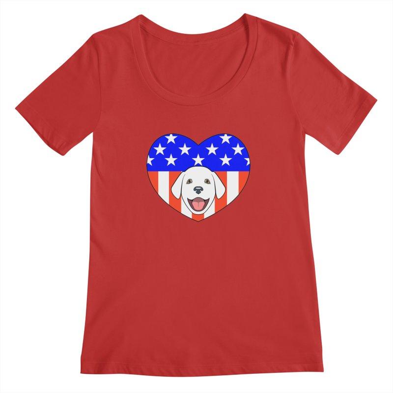 ALL AMERICAN DOG LOVER Women's Regular Scoop Neck by CAT IN ORBIT Artist Shop