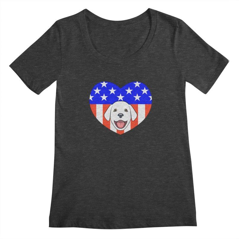 ALL AMERICAN DOG LOVER Women's Scoopneck by CAT IN ORBIT Artist Shop