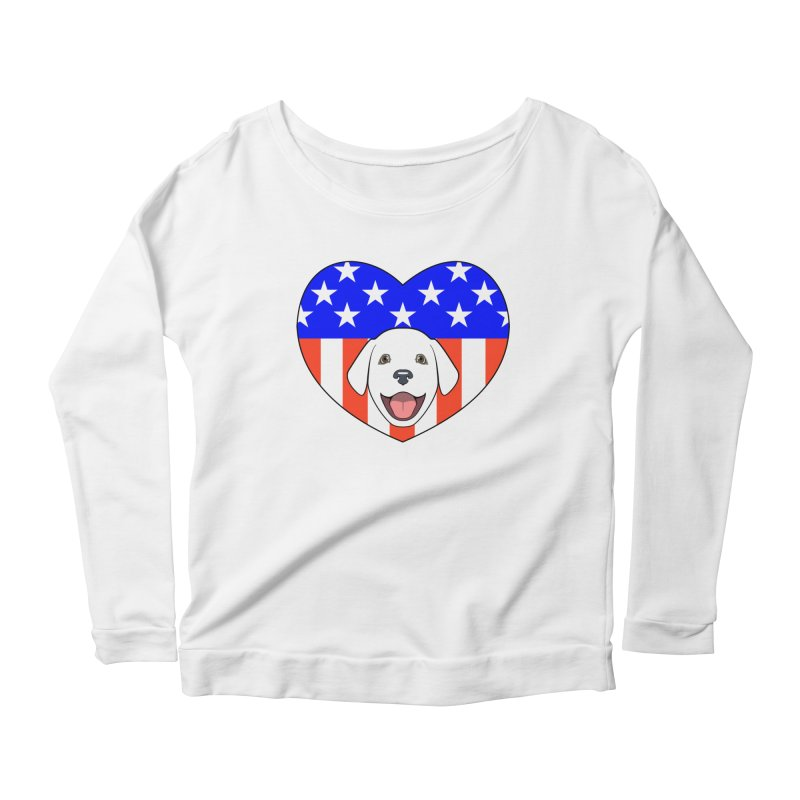 ALL AMERICAN DOG LOVER Women's Longsleeve Scoopneck  by CAT IN ORBIT Artist Shop