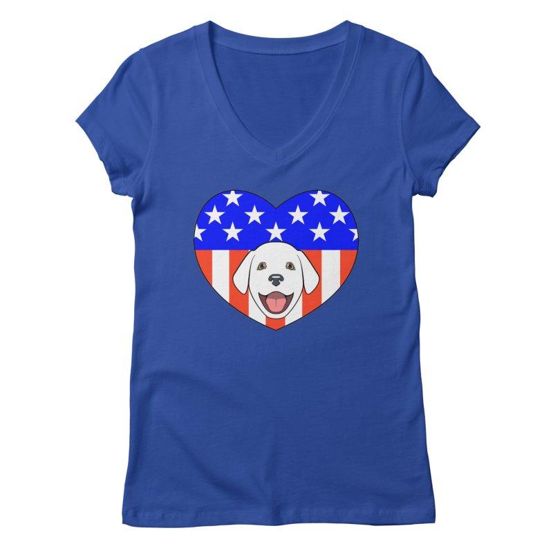 ALL AMERICAN DOG LOVER Women's V-Neck by CAT IN ORBIT Artist Shop