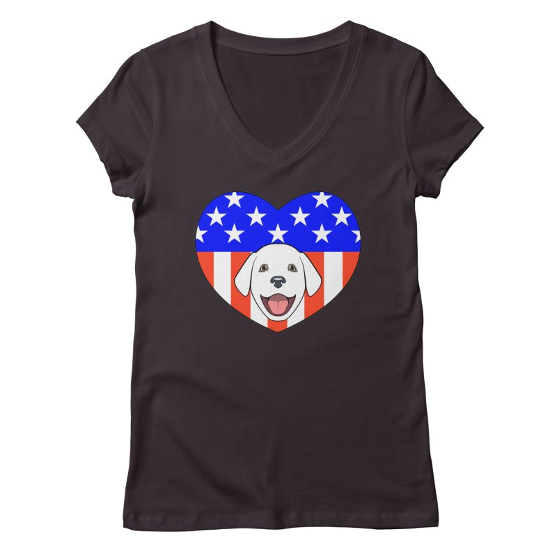 ALL AMERICAN DOG LOVER Women's V-Neck by CAT IN ORBIT Artist Shop