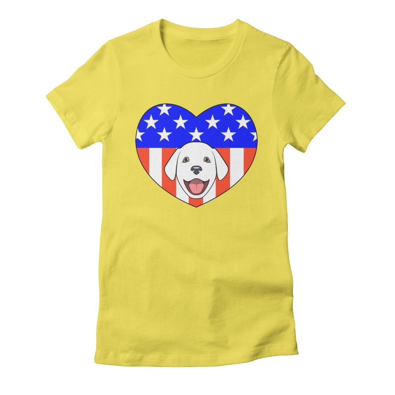 ALL AMERICAN DOG LOVER Women's Fitted T-Shirt by CAT IN ORBIT Artist Shop