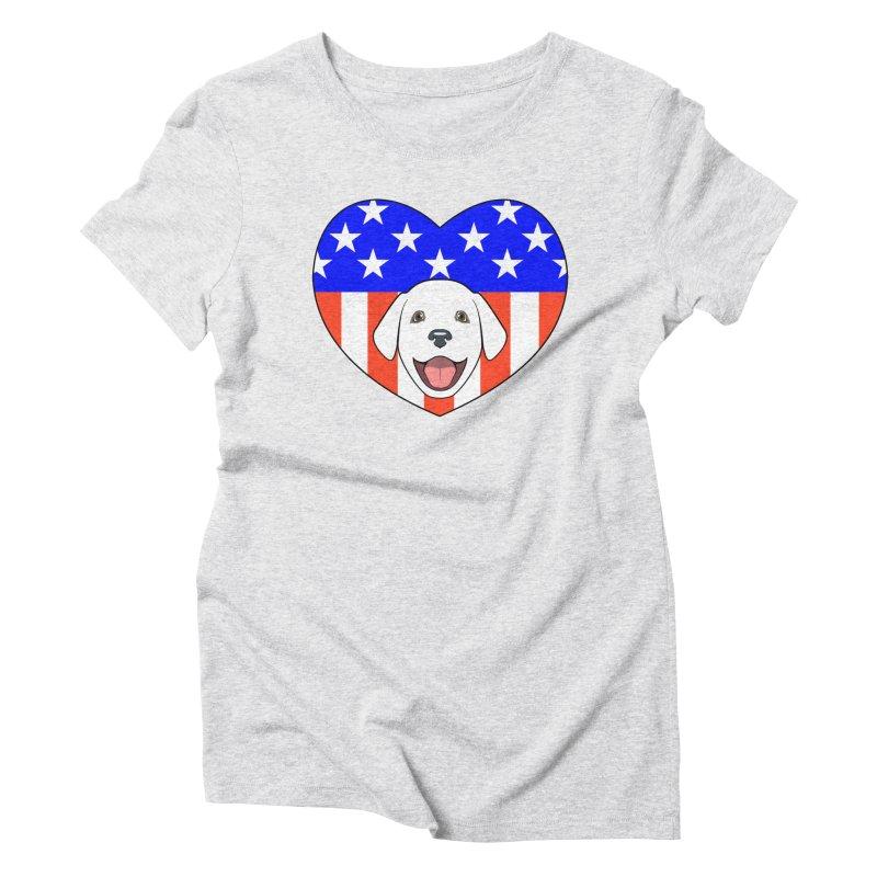 ALL AMERICAN DOG LOVER Women's Triblend T-Shirt by CAT IN ORBIT Artist Shop