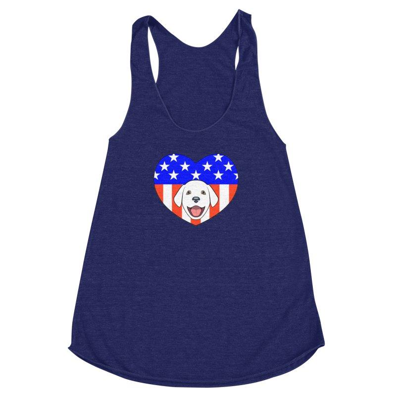 ALL AMERICAN DOG LOVER Women's Racerback Triblend Tank by CAT IN ORBIT Artist Shop
