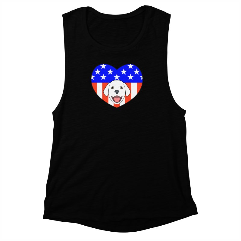 ALL AMERICAN DOG LOVER Women's Muscle Tank by CAT IN ORBIT Artist Shop