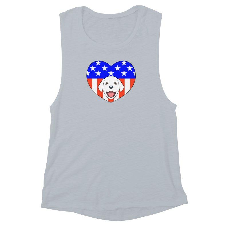 ALL AMERICAN DOG LOVER Women's Muscle Tank by CAT IN ORBIT Artist Shop