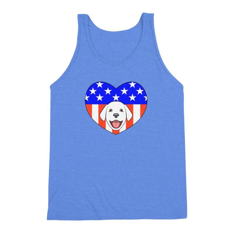 ALL AMERICAN DOG LOVER Men's Triblend Tank by CAT IN ORBIT Artist Shop