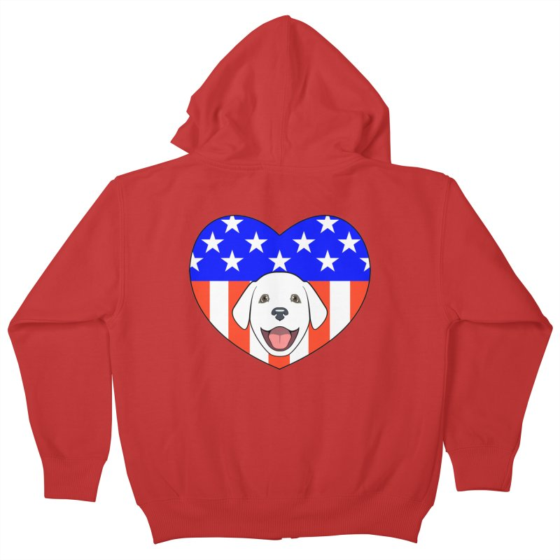 ALL AMERICAN DOG LOVER Kids Zip-Up Hoody by CAT IN ORBIT Artist Shop