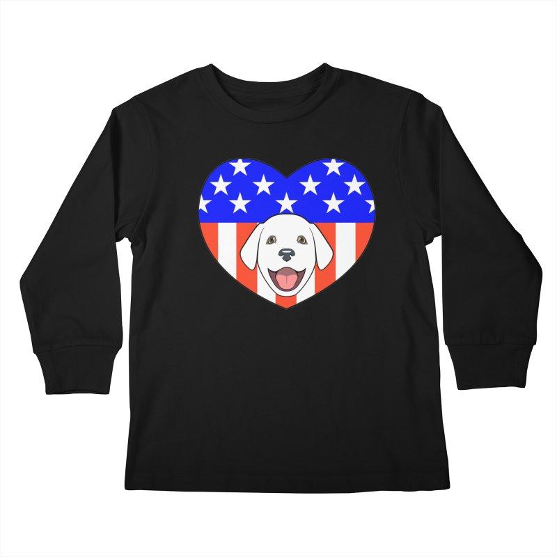 ALL AMERICAN DOG LOVER Kids Longsleeve T-Shirt by CAT IN ORBIT Artist Shop