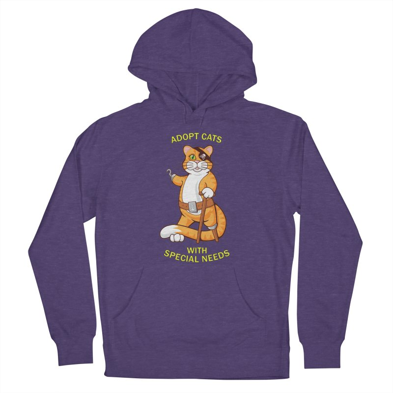 ADOPT CATS WITH SPECIAL NEEDS Women's French Terry Pullover Hoody by CAT IN ORBIT Artist Shop
