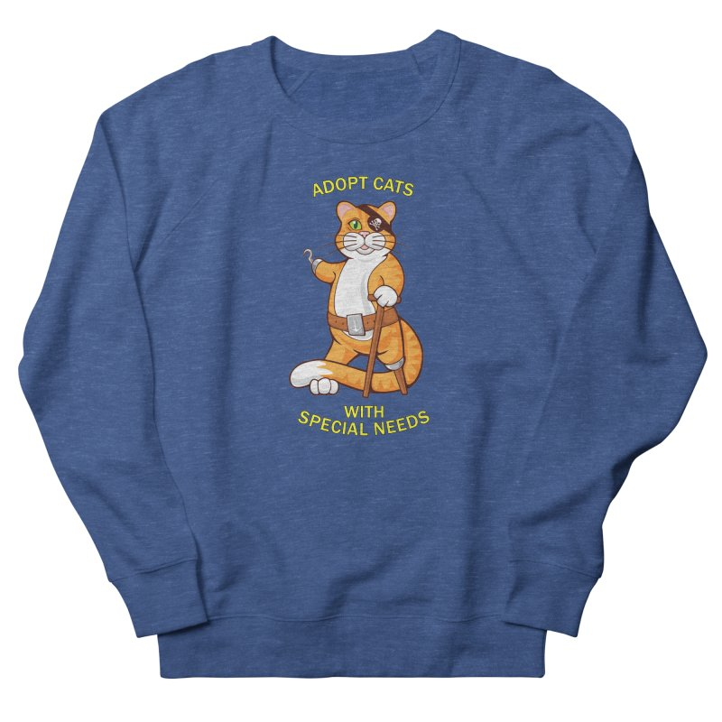 ADOPT CATS WITH SPECIAL NEEDS Women's French Terry Sweatshirt by CAT IN ORBIT Artist Shop