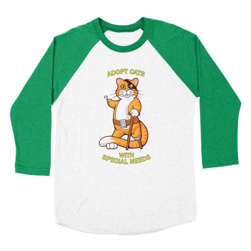 ADOPT CATS WITH SPECIAL NEEDS Women's Baseball Triblend Longsleeve T-Shirt by CAT IN ORBIT Artist Shop