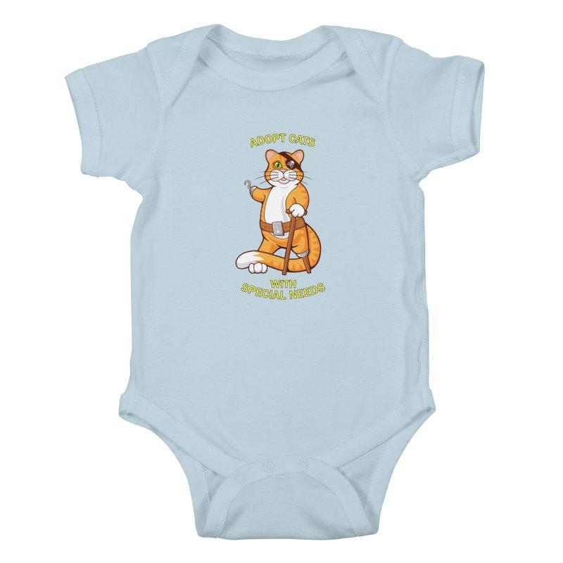 ADOPT CATS WITH SPECIAL NEEDS Kids Baby Bodysuit by CAT IN ORBIT Artist Shop