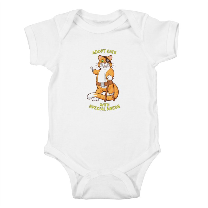 ADOPT CATS WITH SPECIAL NEEDS Kids Baby Bodysuit by CAT IN ORBIT Artist Shop