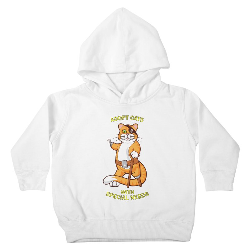 ADOPT CATS WITH SPECIAL NEEDS Kids Toddler Pullover Hoody by CAT IN ORBIT Artist Shop