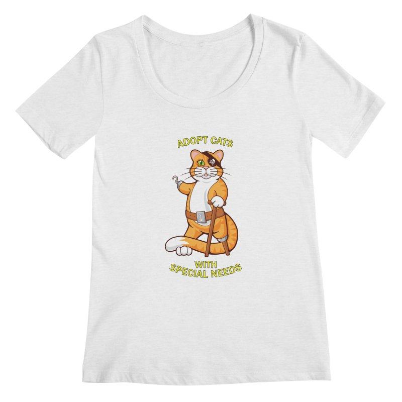 ADOPT CATS WITH SPECIAL NEEDS Women's Scoopneck by CAT IN ORBIT Artist Shop