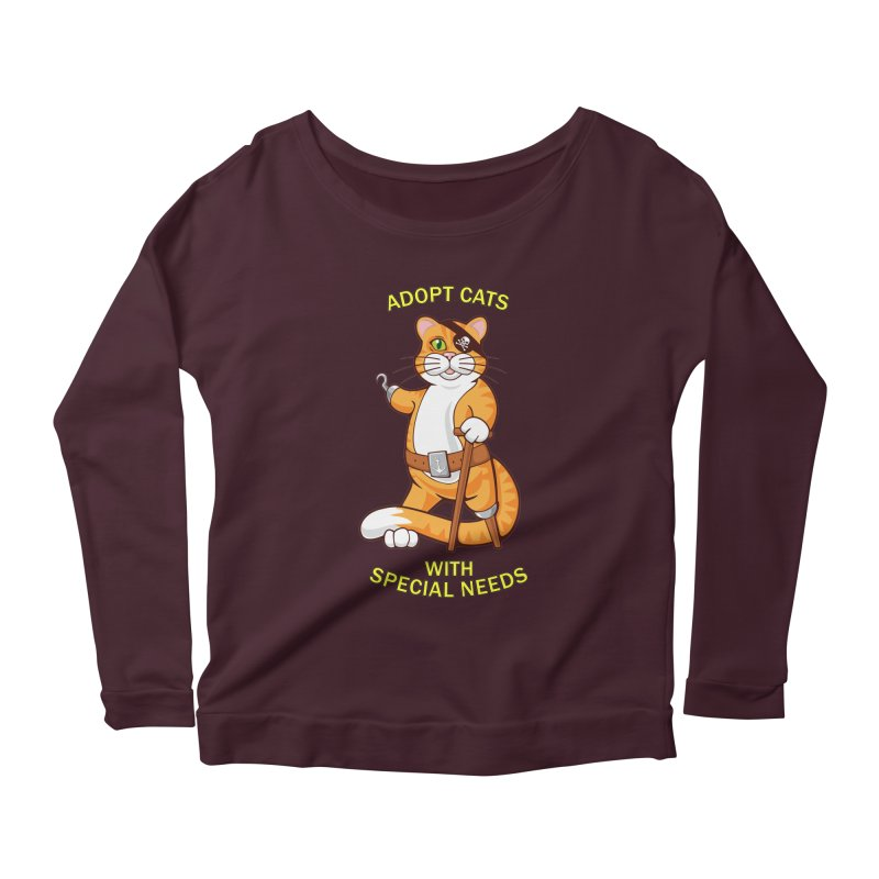 ADOPT CATS WITH SPECIAL NEEDS Women's Scoop Neck Longsleeve T-Shirt by CAT IN ORBIT Artist Shop