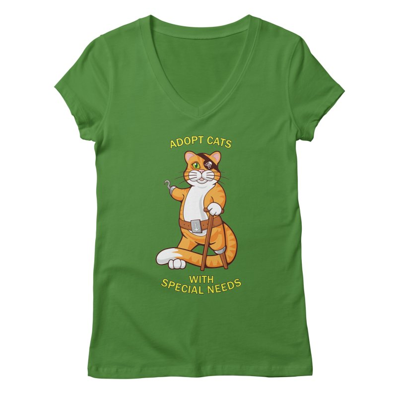 ADOPT CATS WITH SPECIAL NEEDS Women's Regular V-Neck by CAT IN ORBIT Artist Shop