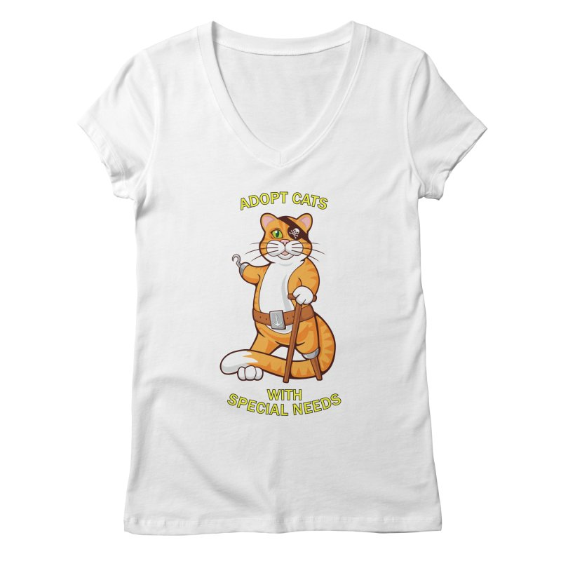 ADOPT CATS WITH SPECIAL NEEDS Women's V-Neck by CAT IN ORBIT Artist Shop