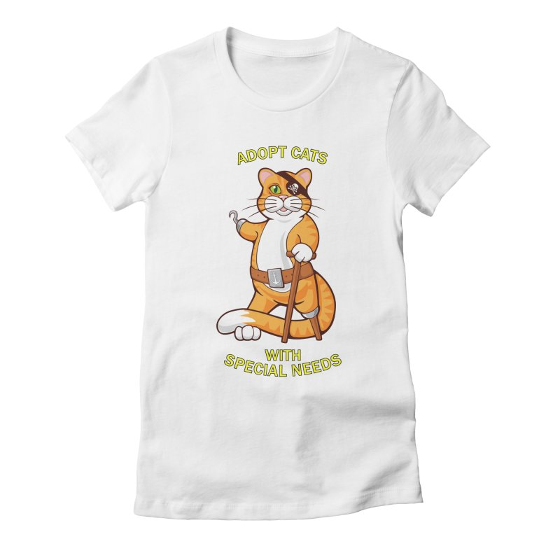 ADOPT CATS WITH SPECIAL NEEDS Women's Fitted T-Shirt by CAT IN ORBIT Artist Shop