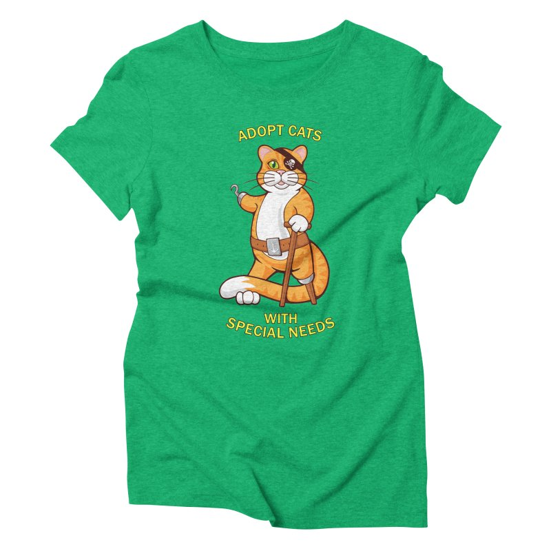 ADOPT CATS WITH SPECIAL NEEDS Women's Triblend T-Shirt by CAT IN ORBIT Artist Shop