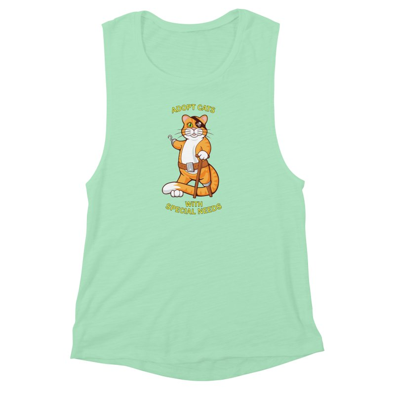 ADOPT CATS WITH SPECIAL NEEDS Women's Muscle Tank by CAT IN ORBIT Artist Shop