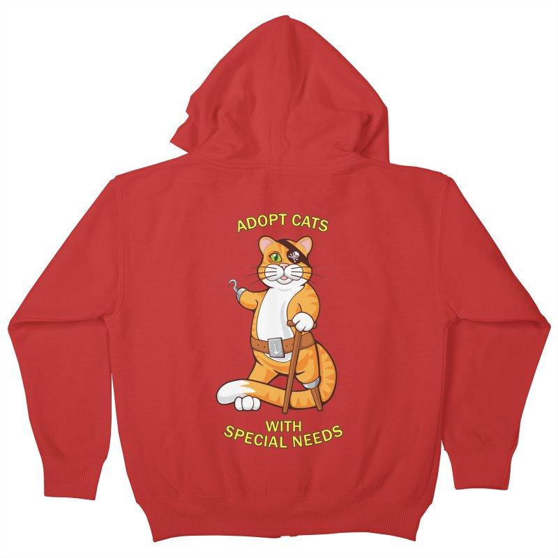 ADOPT CATS WITH SPECIAL NEEDS Kids Zip-Up Hoody by CAT IN ORBIT Artist Shop