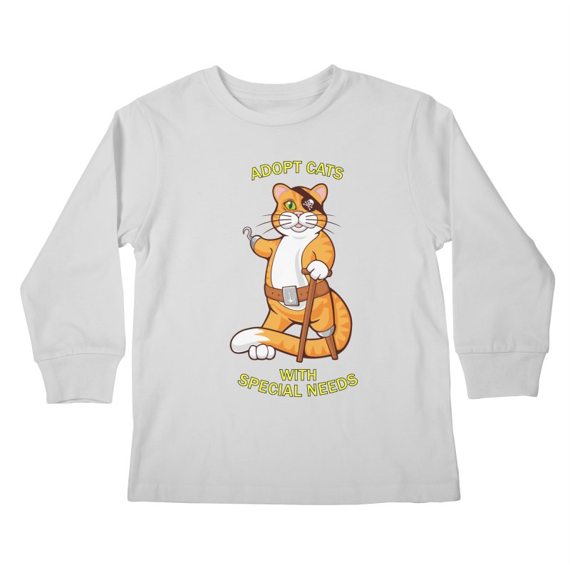 ADOPT CATS WITH SPECIAL NEEDS Kids Longsleeve T-Shirt by CAT IN ORBIT Artist Shop