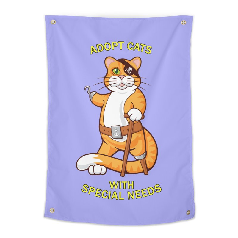 ADOPT CATS WITH SPECIAL NEEDS Home Tapestry by CAT IN ORBIT Artist Shop