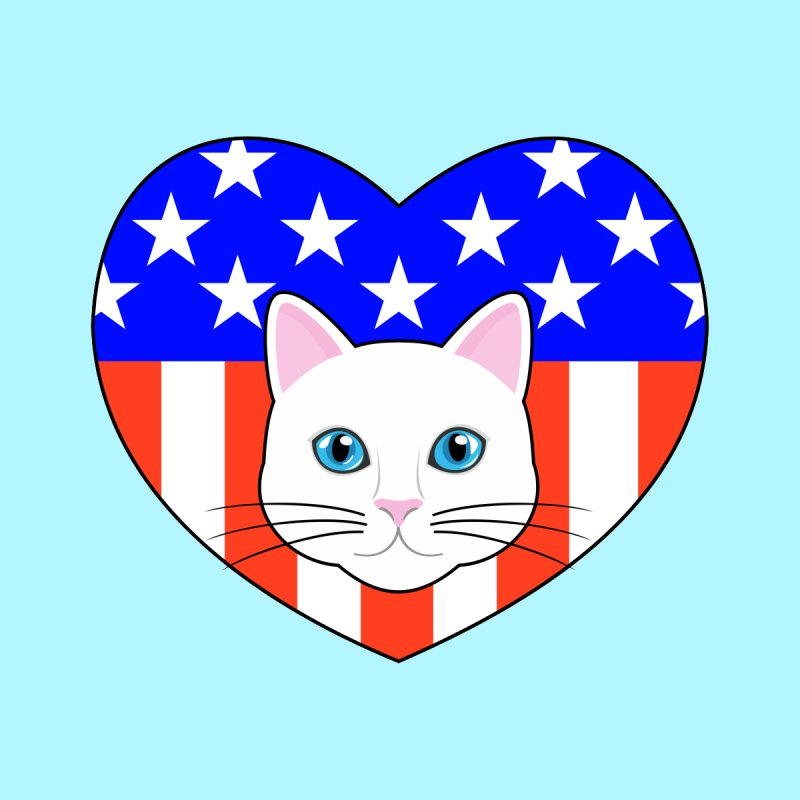 ALL AMERICAN CAT LOVER None  by CAT IN ORBIT Artist Shop