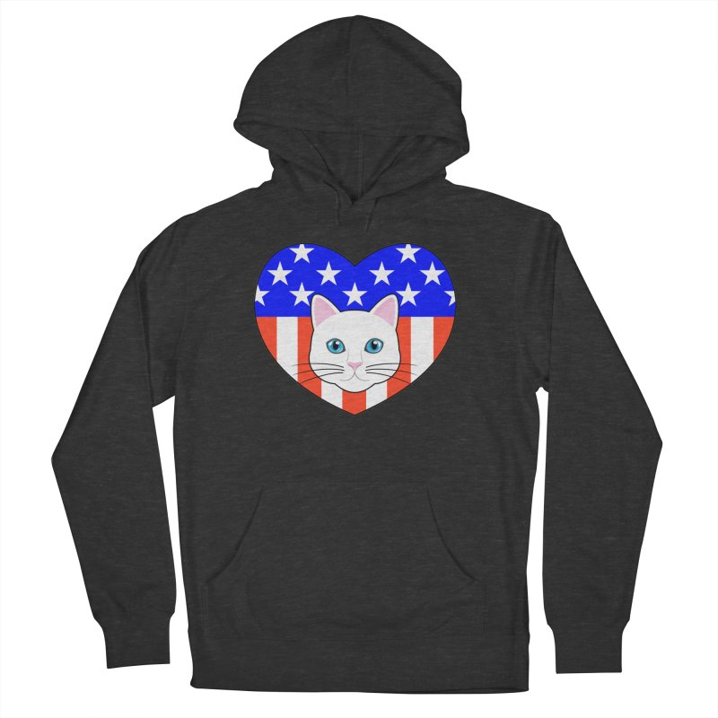 ALL AMERICAN CAT LOVER Women's French Terry Pullover Hoody by CAT IN ORBIT Artist Shop