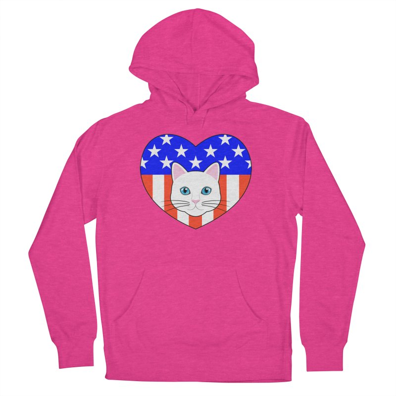ALL AMERICAN CAT LOVER Men's French Terry Pullover Hoody by CAT IN ORBIT Artist Shop