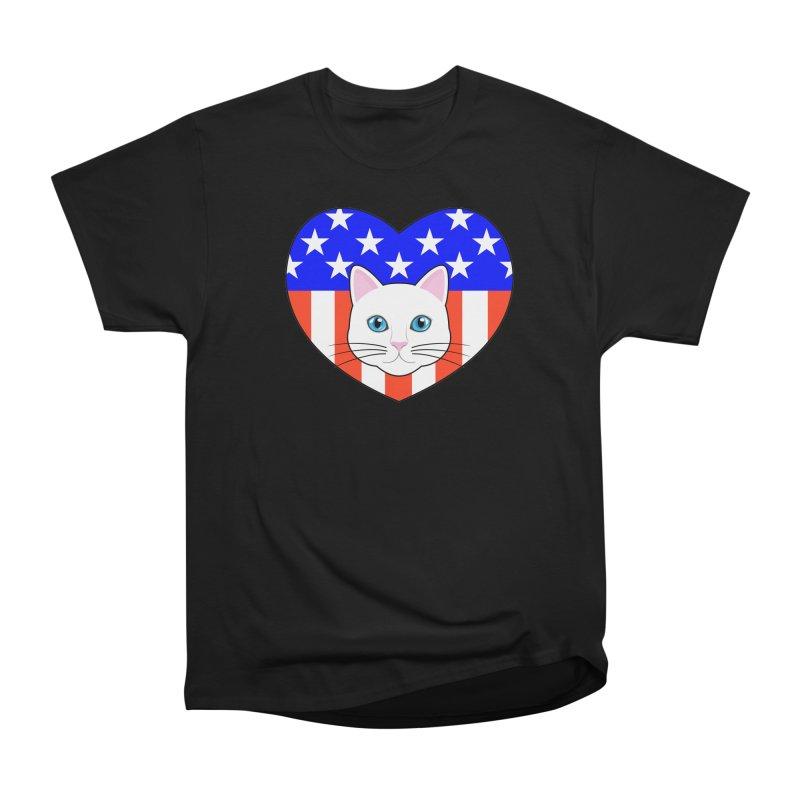 ALL AMERICAN CAT LOVER Men's Heavyweight T-Shirt by CAT IN ORBIT Artist Shop
