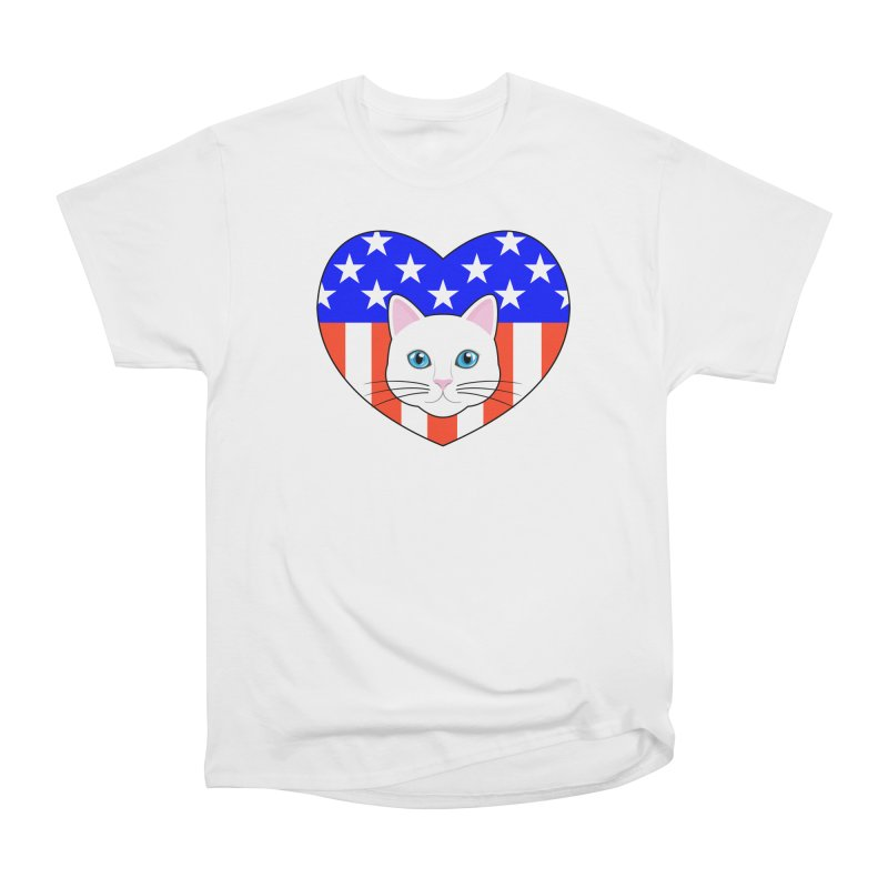 ALL AMERICAN CAT LOVER Women's Heavyweight Unisex T-Shirt by CAT IN ORBIT Artist Shop