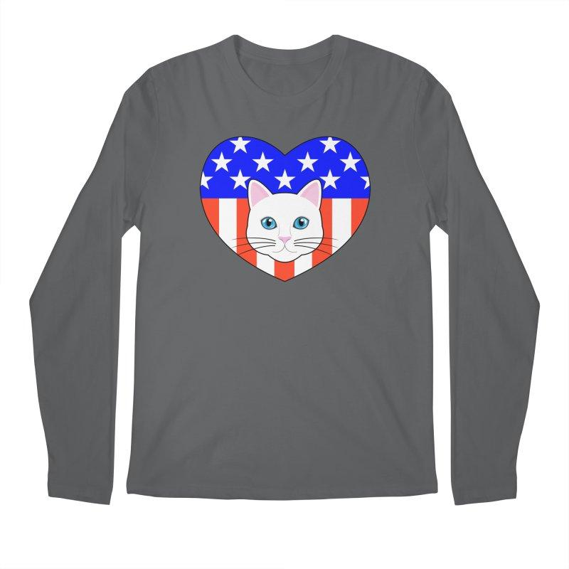 ALL AMERICAN CAT LOVER Men's Longsleeve T-Shirt by CAT IN ORBIT Artist Shop