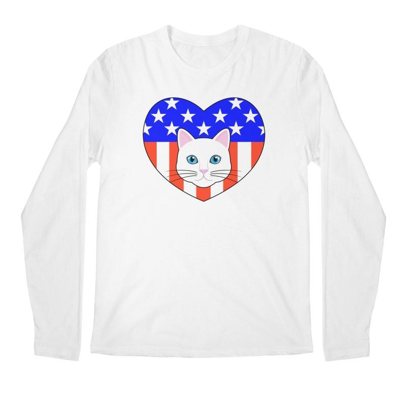 ALL AMERICAN CAT LOVER Men's Regular Longsleeve T-Shirt by CAT IN ORBIT Artist Shop