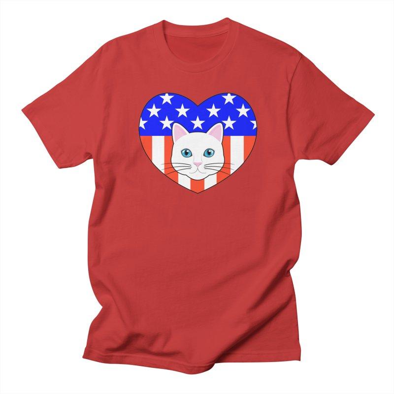 ALL AMERICAN CAT LOVER Men's Regular T-Shirt by CAT IN ORBIT Artist Shop