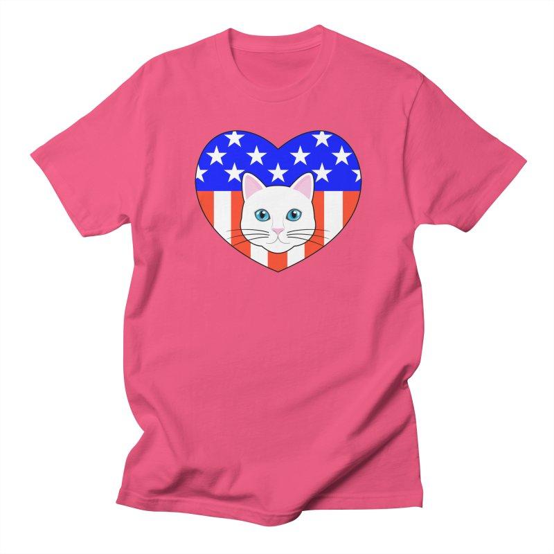 ALL AMERICAN CAT LOVER Women's Regular Unisex T-Shirt by CAT IN ORBIT Artist Shop