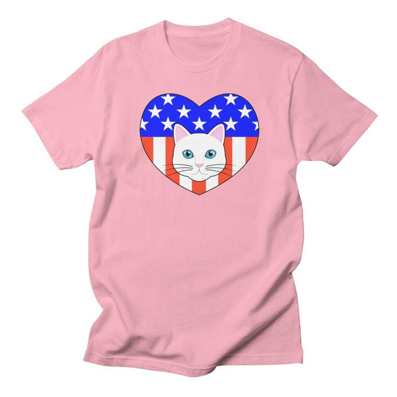 ALL AMERICAN CAT LOVER Men's T-Shirt by CAT IN ORBIT Artist Shop