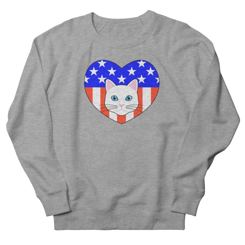ALL AMERICAN CAT LOVER Women's French Terry Sweatshirt by CAT IN ORBIT Artist Shop