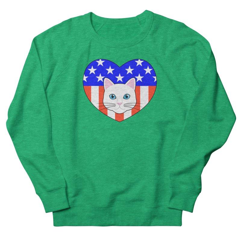 ALL AMERICAN CAT LOVER Men's French Terry Sweatshirt by CAT IN ORBIT Artist Shop
