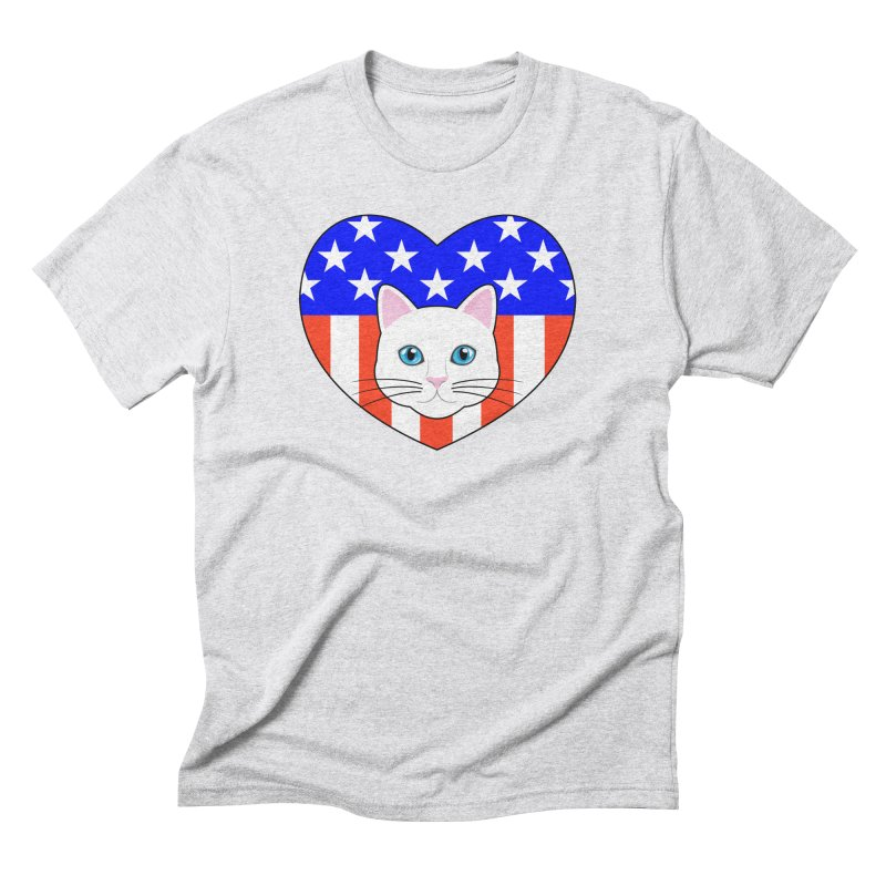ALL AMERICAN CAT LOVER Men's Triblend T-Shirt by CAT IN ORBIT Artist Shop