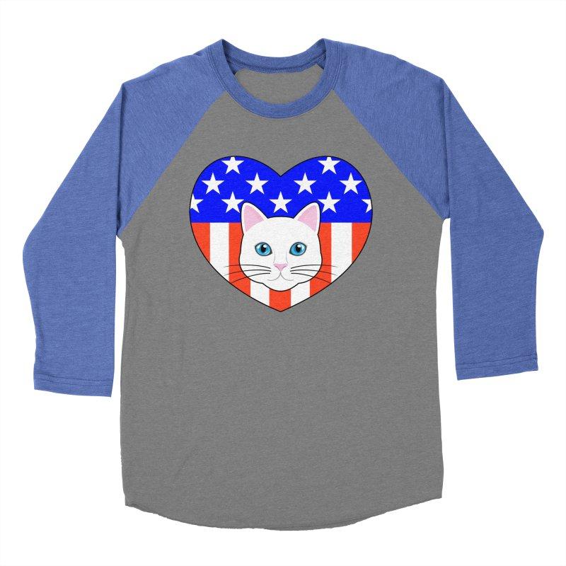 ALL AMERICAN CAT LOVER Women's Baseball Triblend Longsleeve T-Shirt by CAT IN ORBIT Artist Shop
