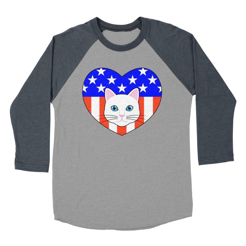 ALL AMERICAN CAT LOVER Men's Baseball Triblend Longsleeve T-Shirt by CAT IN ORBIT Artist Shop