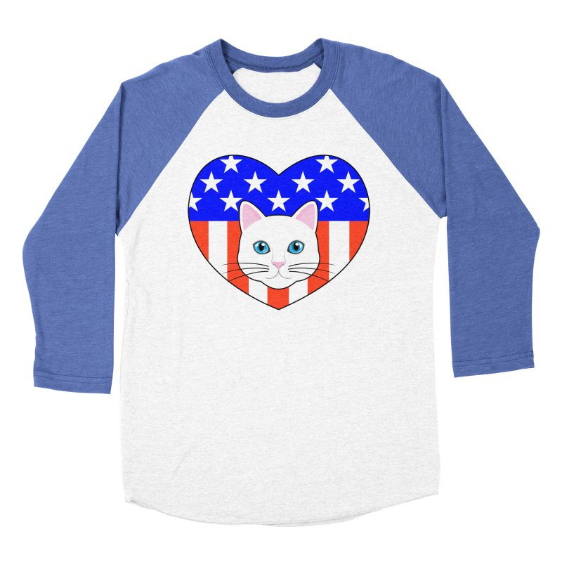 ALL AMERICAN CAT LOVER Men's Baseball Triblend T-Shirt by CAT IN ORBIT Artist Shop