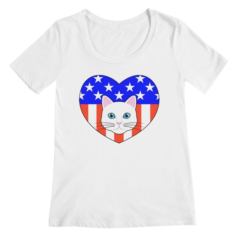 ALL AMERICAN CAT LOVER Women's Regular Scoop Neck by CAT IN ORBIT Artist Shop